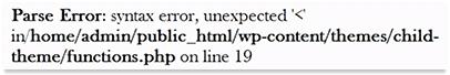 WordPress theme parse error