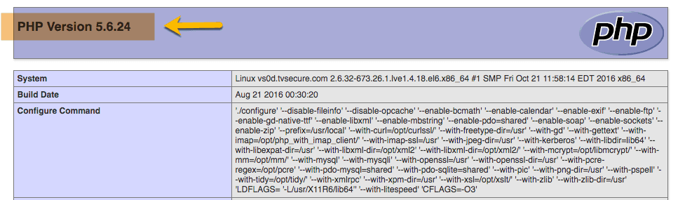 PHP Version shown in PHP info file